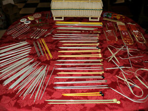 Sewing Basket + OVER 50 sets of Knitting Needles & Accessories Windsor Region Ontario image 1
