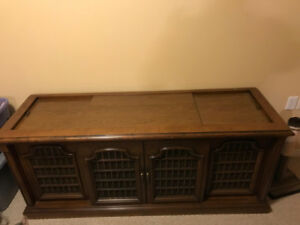 Solid wood tv cabinet with record player, radio & speakers
