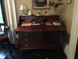 Antique Mahogany Chippendale Four Drawer Desk on a Bracket Base