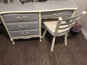 Refinished Grey French Provincial Wood Desk & Chair - Best Offer