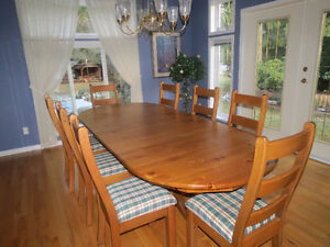 Long Solid Wood Table & Chairs