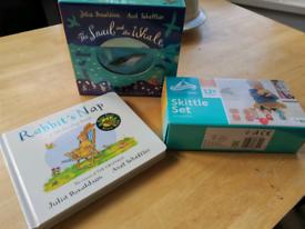Julia Donaldson books and toy skittles