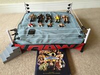 WWE Raw Wrestling Ring with Figures and Book