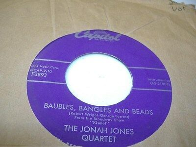 Jazz 45 THE JONAH JONES QUARTET Baubles, Bangles And Beads on Capitol 5