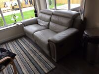 3 seater grey leather recliners x2