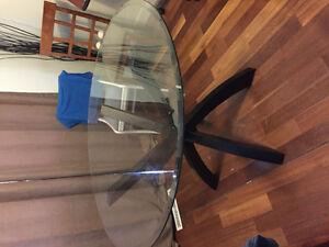 4x4 foot round glass table