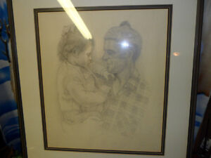 Father and Daughter by M Hall Original $200 . Not a print.