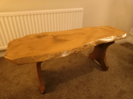 Natural wood seat/table