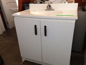 White Vanity with Top & Taps
