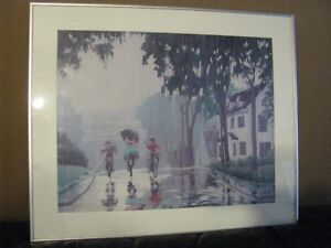 Wall art - Bicycling home in the Rain