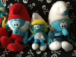 3 Smurf Set Styro Game Doll Papa Gutsy Smurfette Toy Plush NWT L