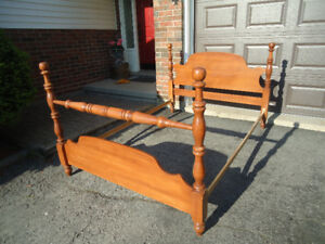 DOUBLE BED FRAME - SOLID WOOD W/ METAL RAILS