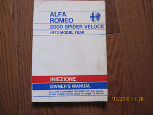 1972 Alfa Romeo 2000 Spider Veloce Owners Manual