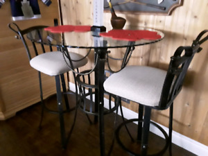 Pub Style Bistro Table and Swivel Chairs
