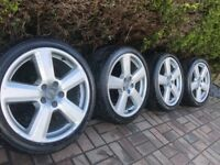 """Genuine Audi A4 A6 18"""" S Line Alloy Wheels & Tyres 5x112 VW RS6"""