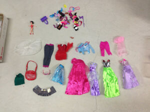 Barbie doll various clothes and accessories