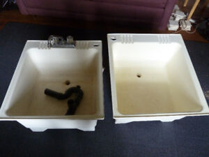 Double laundry sinks with faucet