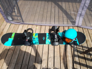 Burton Snowboard with bindings / Sandbox Helmet + Gear