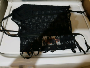 Black corsets with garters, size 42