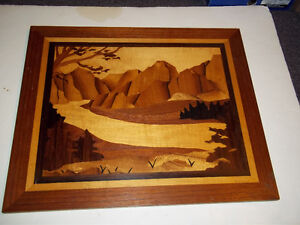 """Marquetry Wood Veneer Inlay Picture of Mountain Stream 19"""" x 16"""""""