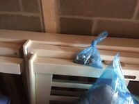 2 x white wooden single bed frames