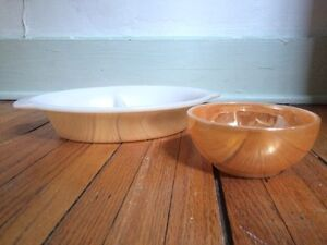 FIRE KING   peach luster ware casserole and cereal bowl