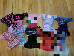Various diapers and inserts