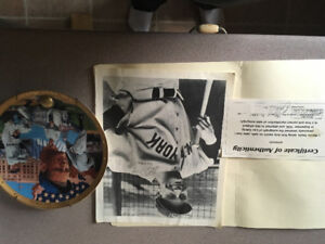Signed Lou Gehrig photo and plate