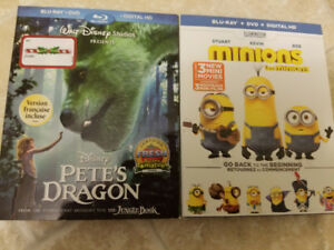 Minions and Pete's Dragon blu-ray and DVD.