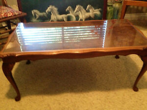 Reduced $50 ! Antique Coffee Table/Glass Top