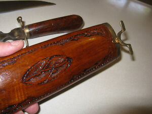 Vintage Wood & Brass Carving set with Stand - Made in India London Ontario image 6