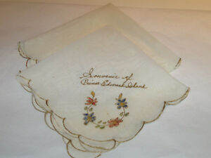 A PAIR of OLD-FASHIONED SILK HANKIES..SOUVENIRS' from P.E.I.