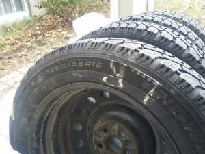 "4 Toyota Rims with 16"" GoodYear Nordic winter tires"