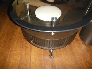 Unique glass coffee table with stools for sale