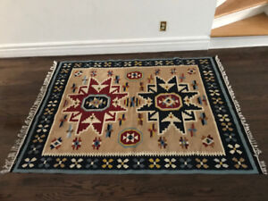 Beautiful Aztec wool rug in pristine condition - $50 or BO