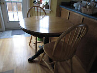 solid birch round pedestal table and chairs