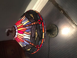 Stained glass dragonfly and crystal glass shade table lamps