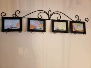 Map prints and hanger