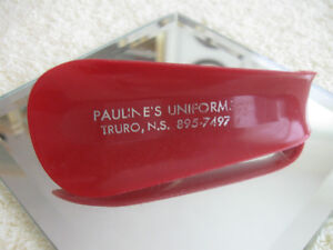 "INTERESTING & UNUSUAL COLLECTIBLE SHOE HORN ""PAULINE'S UNIFORMS"""