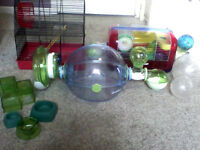 Multiple Hamster Cages + Supplies.