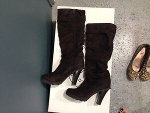 tall brown suede boot