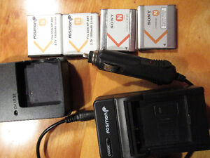 Sony camera batteries with car and wall chargers