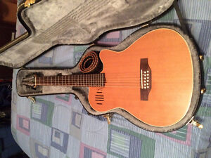 Godin A12 electric/acoustic guitar with hardshell case