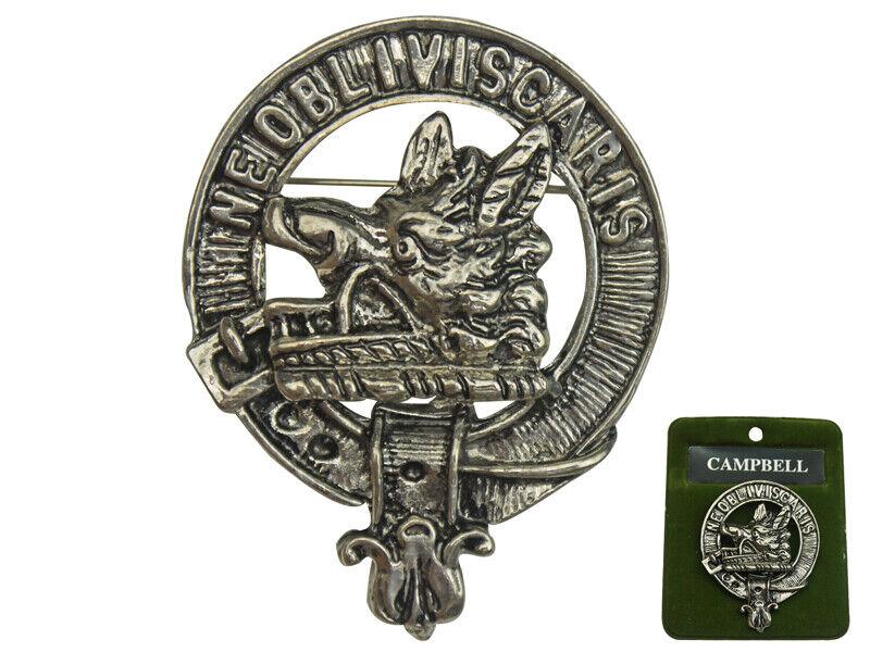 "2"" Scottish NEW Scotland Crest Pin Badge: CAMPBELL Clan Badge"