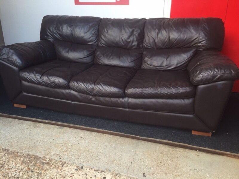 Chocolate Brown Leather Three Seater Sofa Free Local