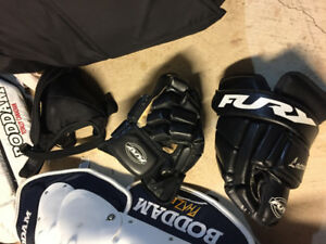 FURY Lacrosse Goalie Gloves,(uppers/shins/pants/jock sold)