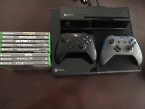 Xbox One with numerous games