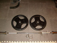 """Olympic Bar 72"""" - Chrome /two 45 lb Olympic Rubber Coated $140"""