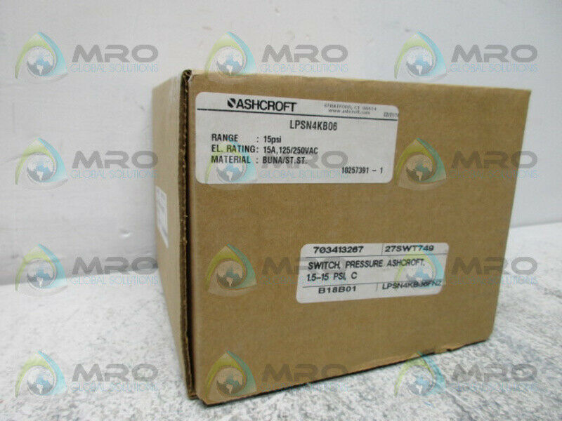 ASHCROFT LPSN4KB06 PRESSURE SWITCH *NEW IN BOX*