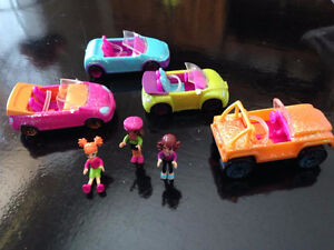 Polly Pocket Glitter Cars # 23,#24,#25 and #26 with 3 figures -